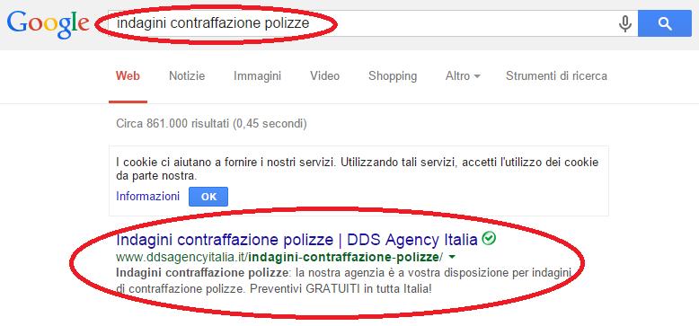 dds agency - prima posizione Google per keywords indagini contraffazione polizze