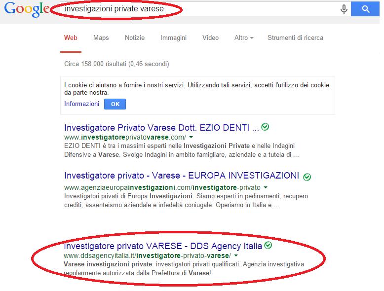 ddsagency prima pagina Google investigazioni private Varese