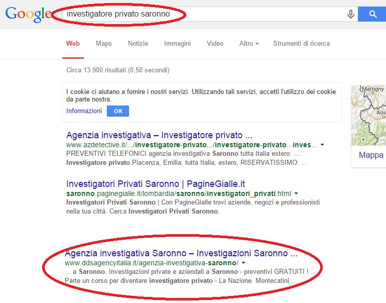 posizionamento sito prima pagina Google - investigatore privato Saronno