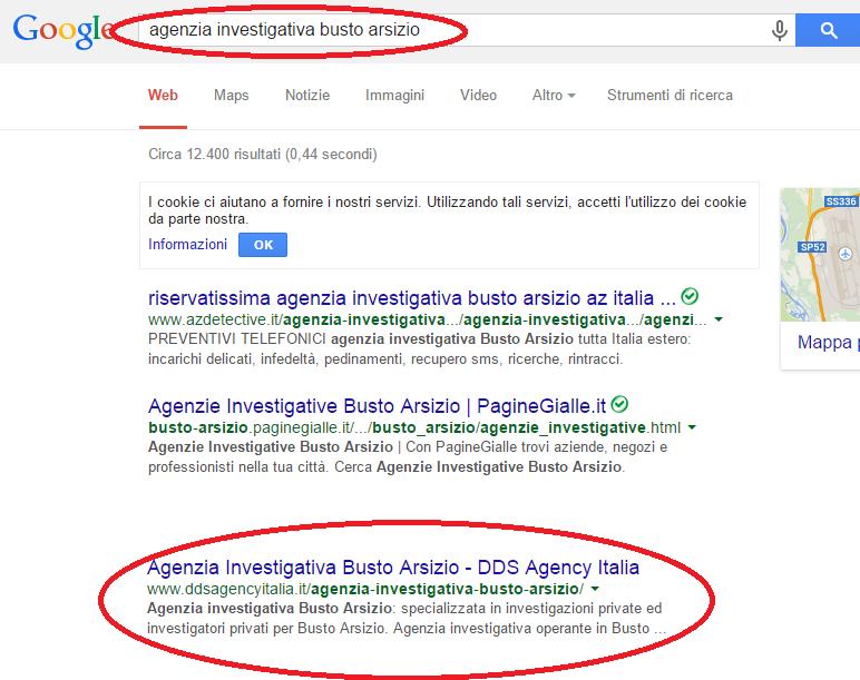 posizionamento sito web dds agency prima pagina Google - agenzia investigativa Busto Arsizio