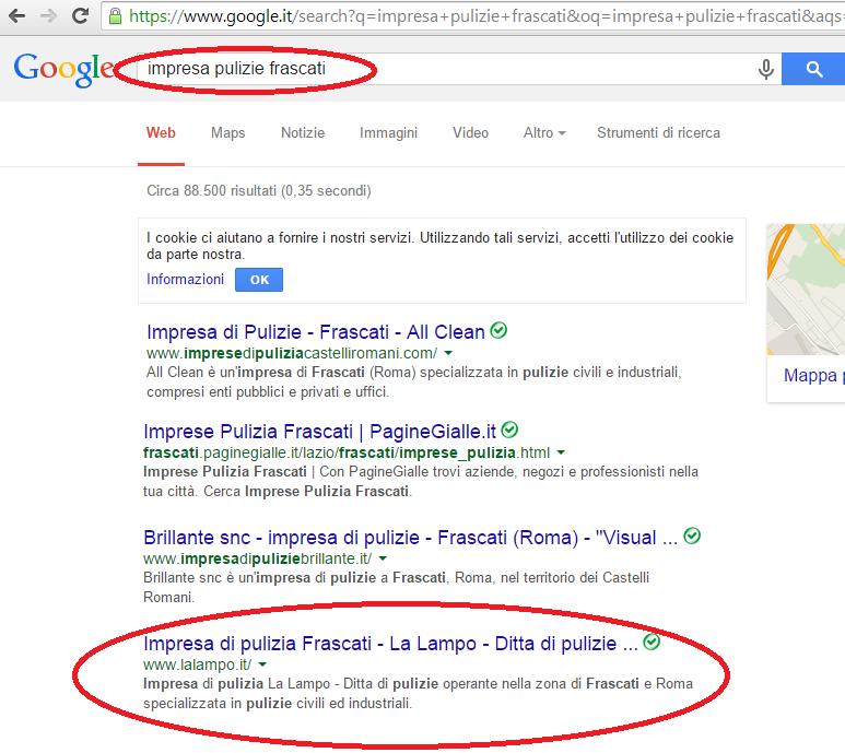 Impresa pulizie La Lampo prima pagina Google