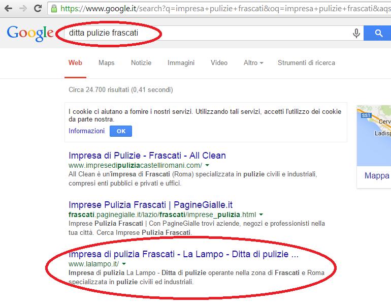 LaLampo prima pagina Google ditta pulizie Frascati