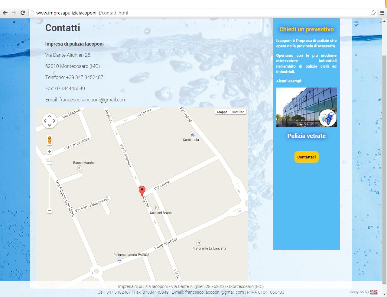 Integrazione sito web impresa pulizia con Google Maps
