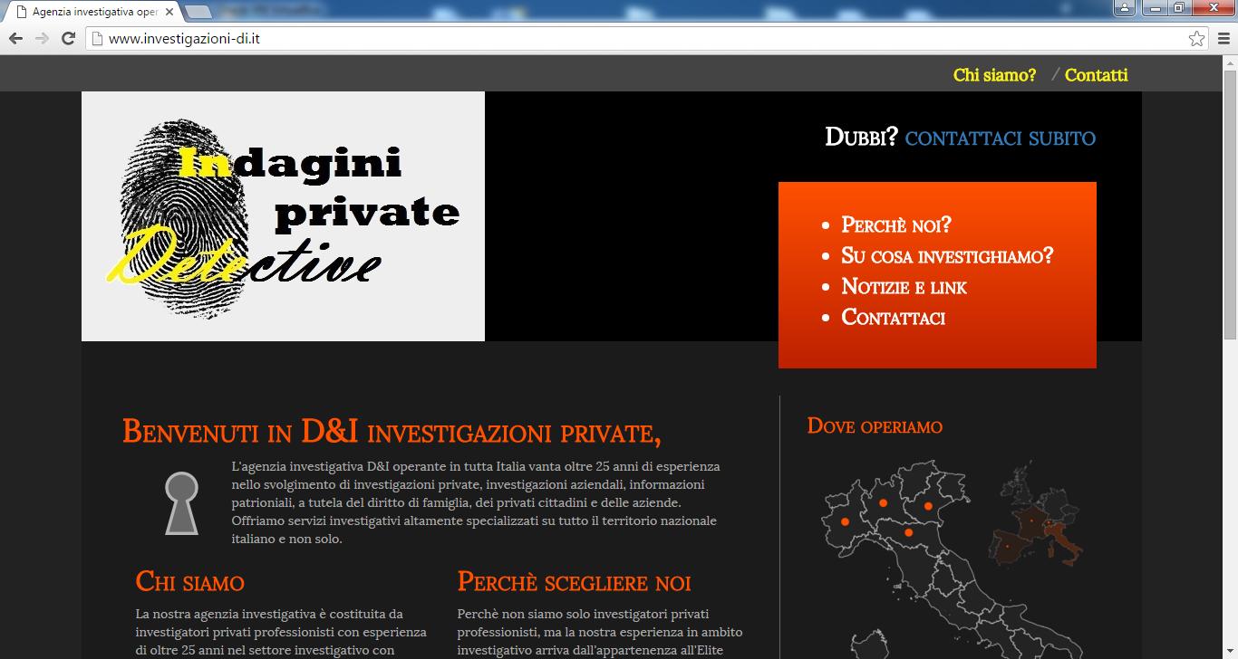 Home page sito agenzia investigativa D&I